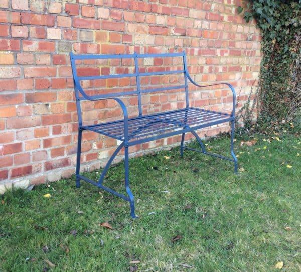 2 seater strapwork bench - Stiffkey Blue