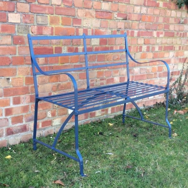 2 seat strapwork Regency style straight back bench