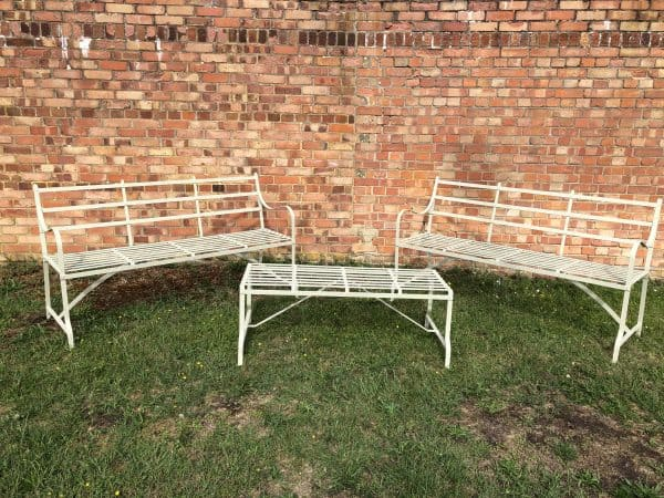 Pair of strapwork game benches