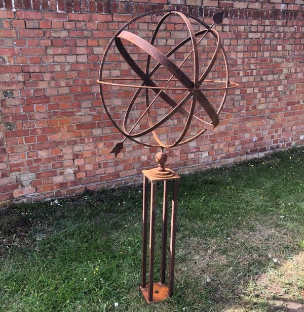 75cm Rusy armillary sundial mounted on our metal stand