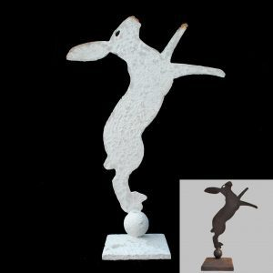 metal profile of boxing hare on stand, 2 standard sizes
