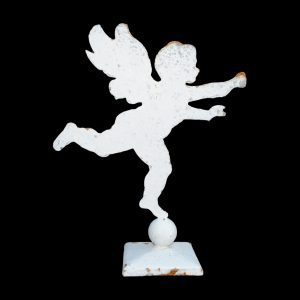Metal profile of large cherub mounted on a square base