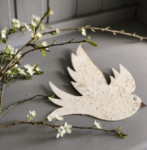 Wall Mounted Dove Painted and Distressed