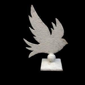 Metal profile of a medium size dove on square stand.