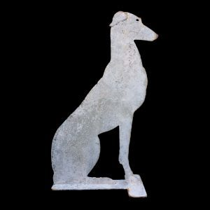 Large metal greyhound sitting ornament