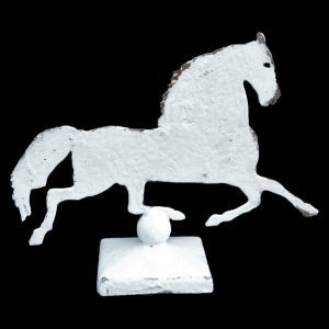 Metal profile of a galloping horse on decorative stand