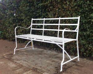 3 seater metal strapwork games bench