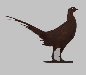 Metal profile ornament of a Pheasant on stand, 2 standard sizes