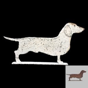 Charming Metal Profile Of A Dachshund On Stand