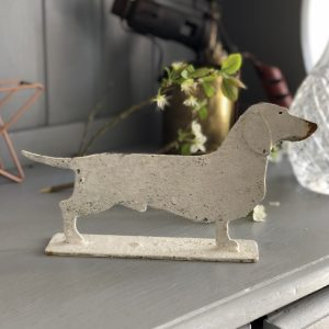 Charming metal profile ornament of a Dachshund on stand, 2 standard sizes