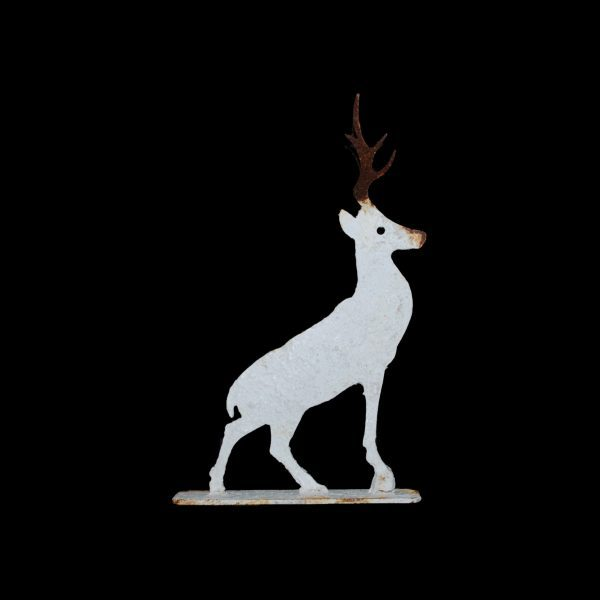 Metal profile of a standing stag on stand, painted & distressed. 2 standard sizes available