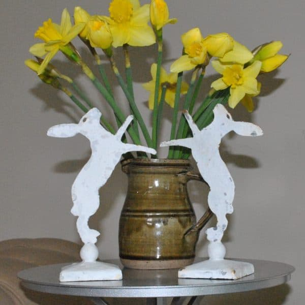 Pair of our mini hares with daffs