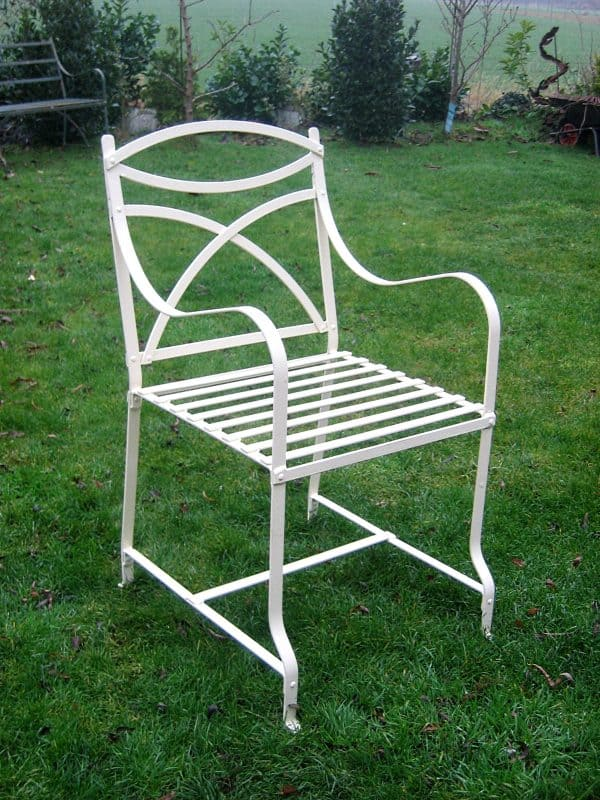 Regency / Victorian style wrought iron strapwork carver chair.