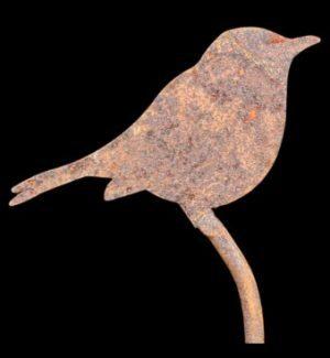 Metal robin/bluetit plant stakes