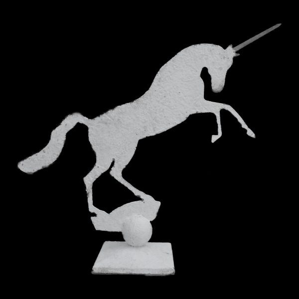 Metal profile of a small unicorn on decorative stand