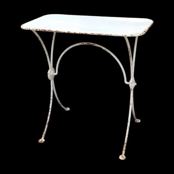 Small retangular metal bistro style table.