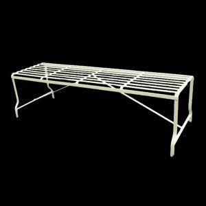 Regency / Victorian style backless metal strapwork garden bench