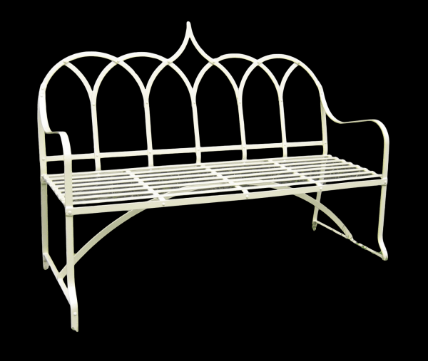 3 seater gothic priory style metal garden bench