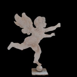 Extra large metal profile of a cherub on stand ( 60cm wide x 69cm high )