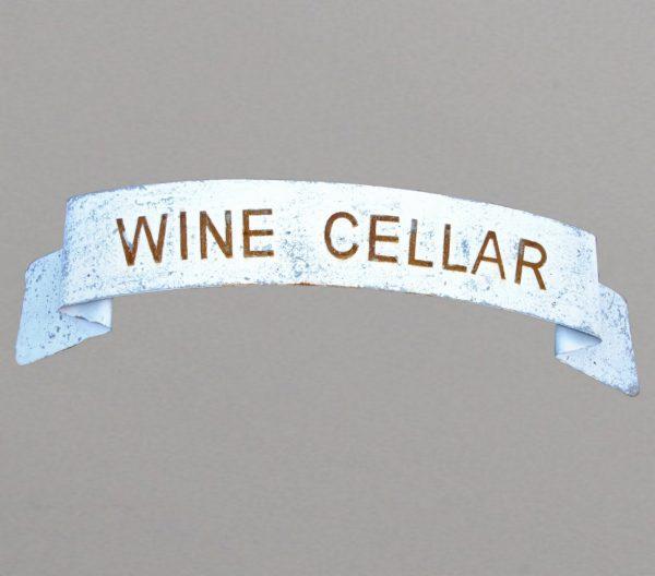 Scrolled WINE CELLAR metal sign