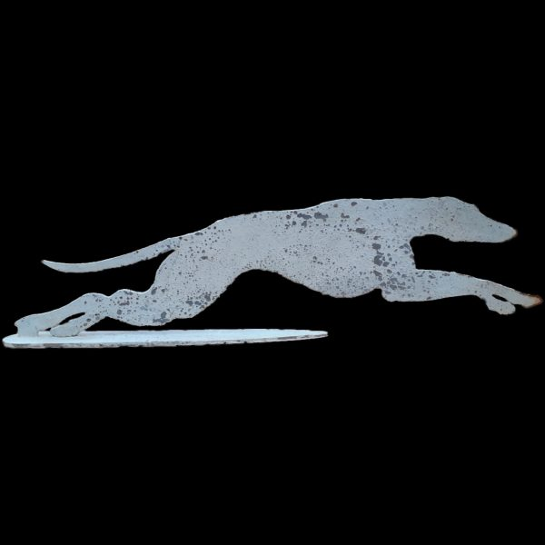 Metal profile of a whippet on stand painted & distressed, 2 standard sizes available