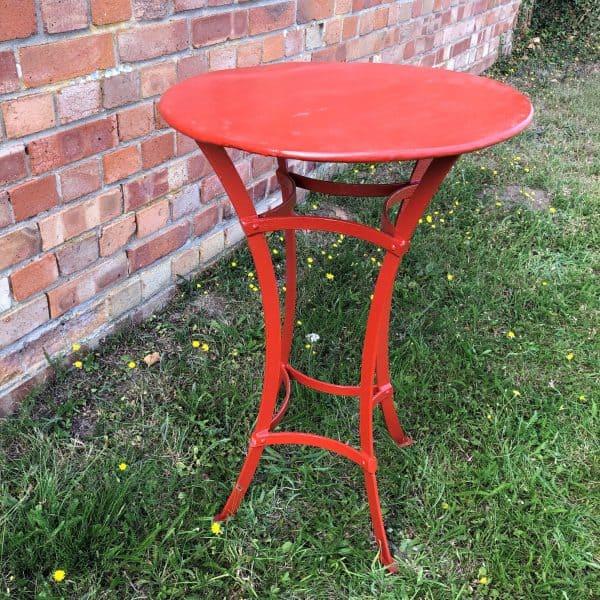 50cm diameter metal strapwork table red