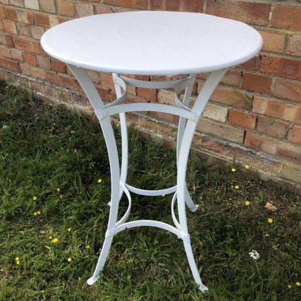50cm dia. metal strapwork table white