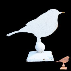 "Metal profile of a life size blackbird on a square decorative stand ( also fits on 4"" garden post )"
