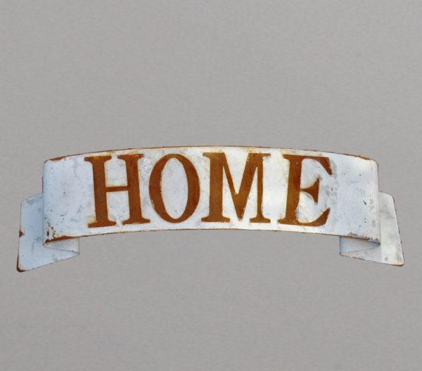 Home sign on scrolled back plate
