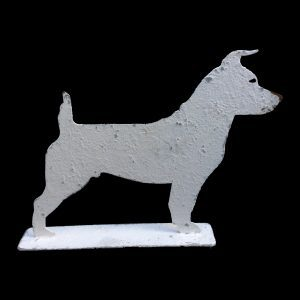 Charming metal profile ornament of a Jack Russell on stand, 2 standard sizes available