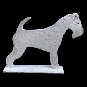 Metal profile ornament of a Lonsdale Fox Terrier on stand, painted and distressed, 2 standard sizes available