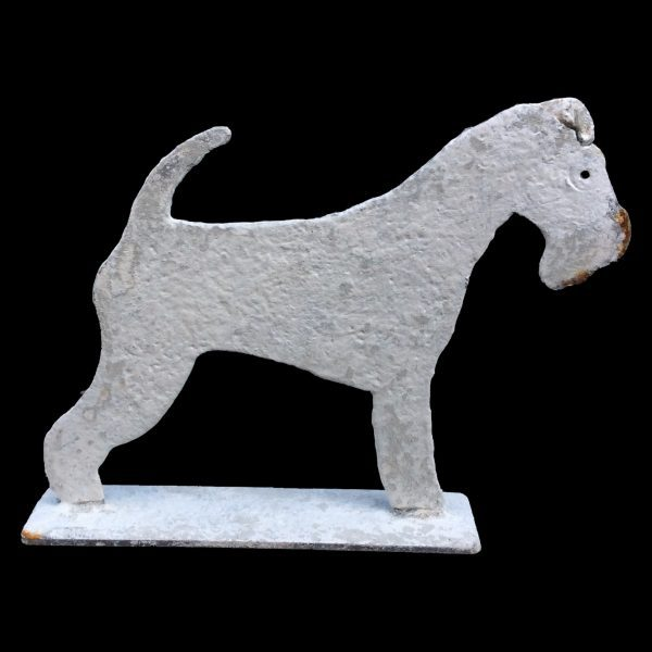 Metal profile of a Lonsdale Fox Terrier on stand, painted and distressed.