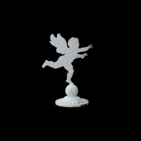 Mini decorative metal cherub on circular base