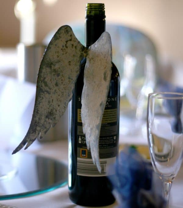 Bottle wings at wedding reception