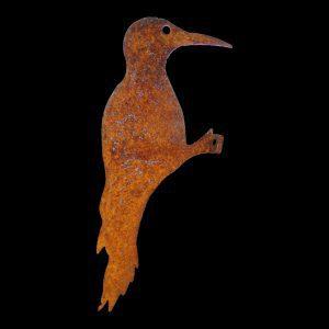 Rusty Metal Profile Of A Woodpecker.