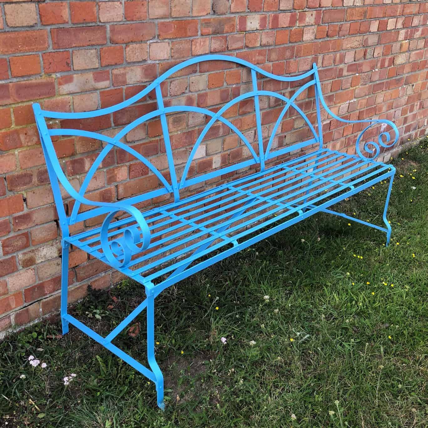 Picture of: Metal Garden Bench With Scrolled Arms 3 Or 4 Seater Strapwork Design