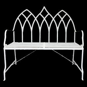 Gothic style 2 seater strapwork garden bench