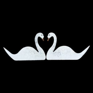 Metal love swans, wall mounted painted and distressed