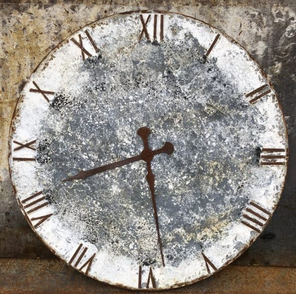 115cm dia clock face, painted and distressed